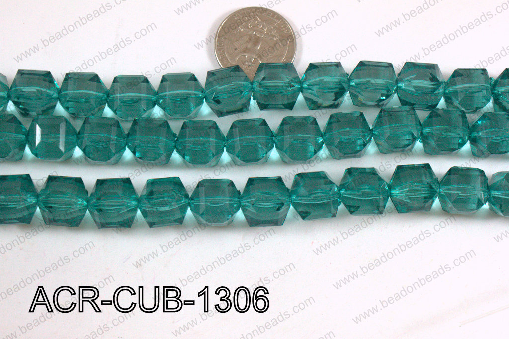 Acrylic Cube Faceted Emerald 13mm ACR-CUB-1306
