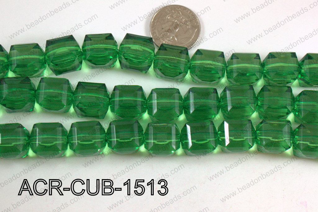 Acrylic Cube Plat Surface Green 15mm ACR-CUB-1513