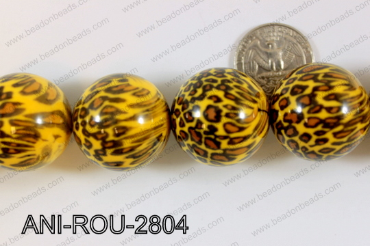 Animal Print Beads Round Yellow 28mm ANI-ROU-2804