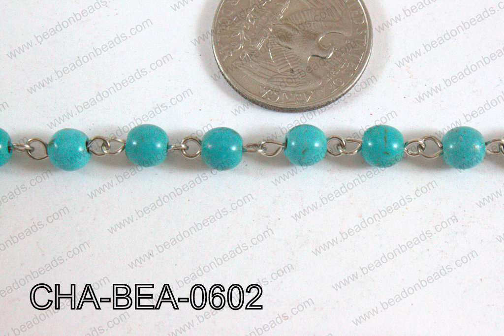Silver Chain with Howlite 6mm CHA-BEA-0602