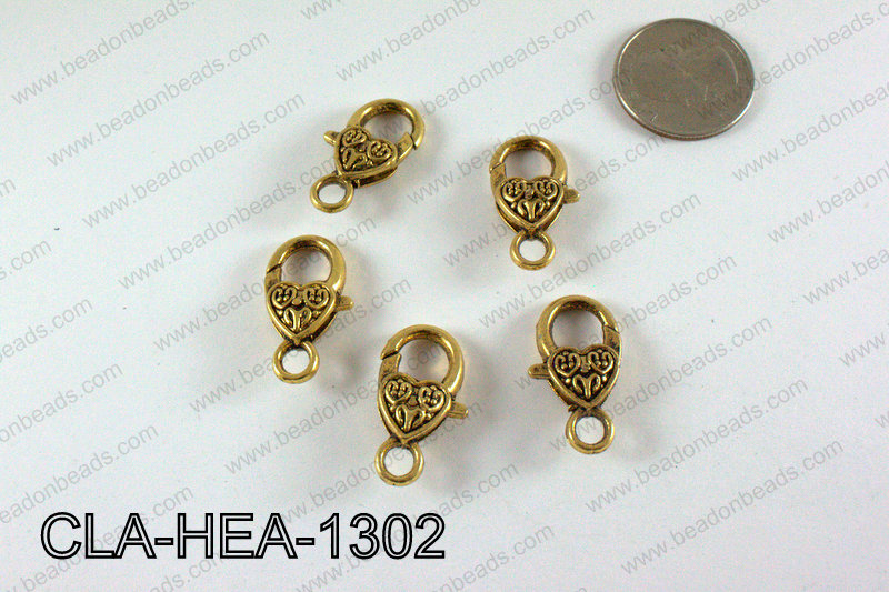 Designed Heart Lobster Clasp, Gold 13x26mm CLA-HEA-1302