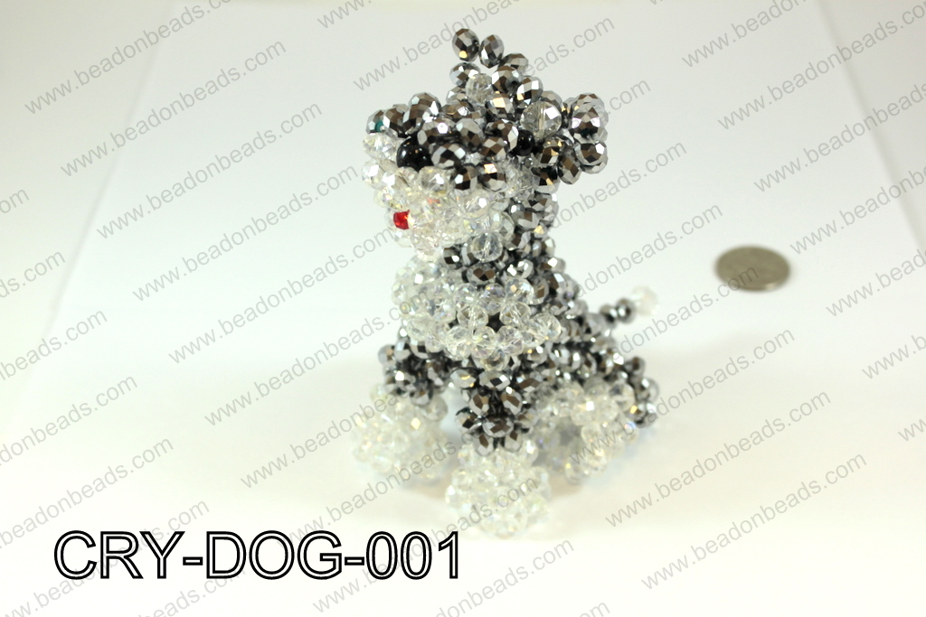 Angelic Crystal Dog 110x85mm made with 8mm rondels CRY-DOG-001