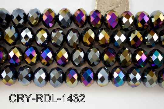 Angelic Crystal Faceted Rondel 14mm 14'' CRY-RDL-1432