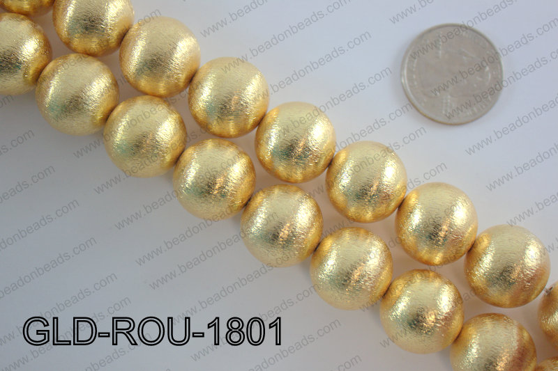 Gold plated copper round beads 18mmGLD-ROU-1801