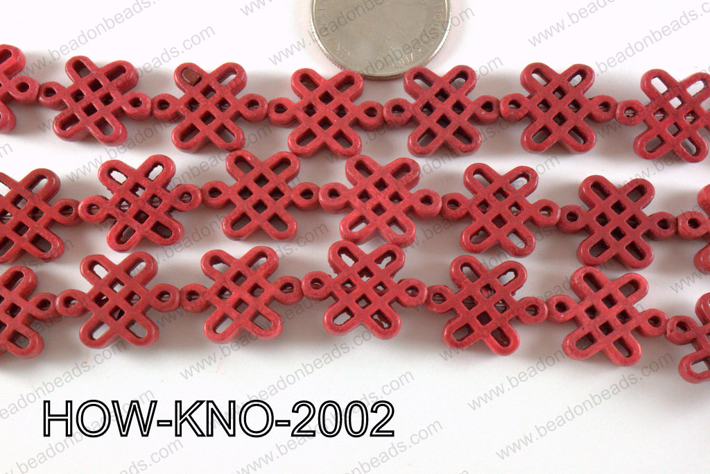 Howlite Chinese Knot 15x20mm HOW-KNO-2002