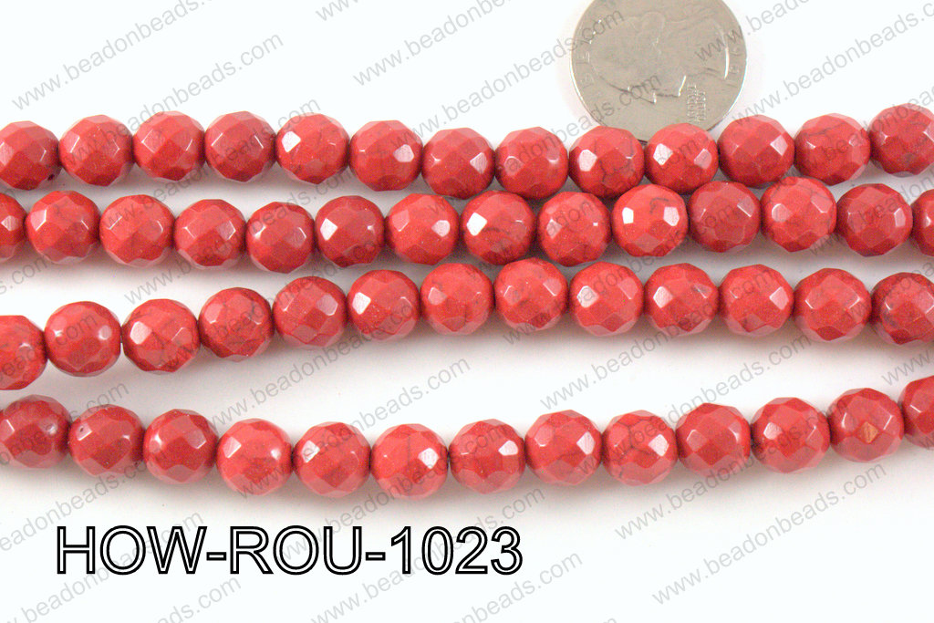 howlite round facted 48 cut red 10mm HOW-ROU-1023