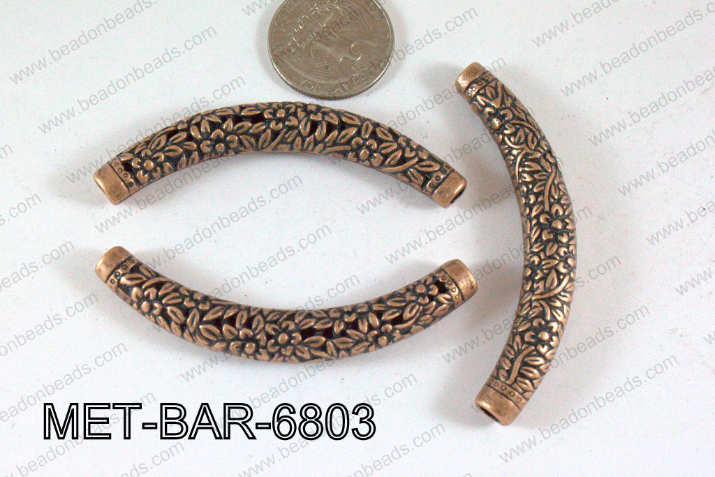 Metal Filligree Bar with Flowers Copper 49x29mm MET-BAR-6803
