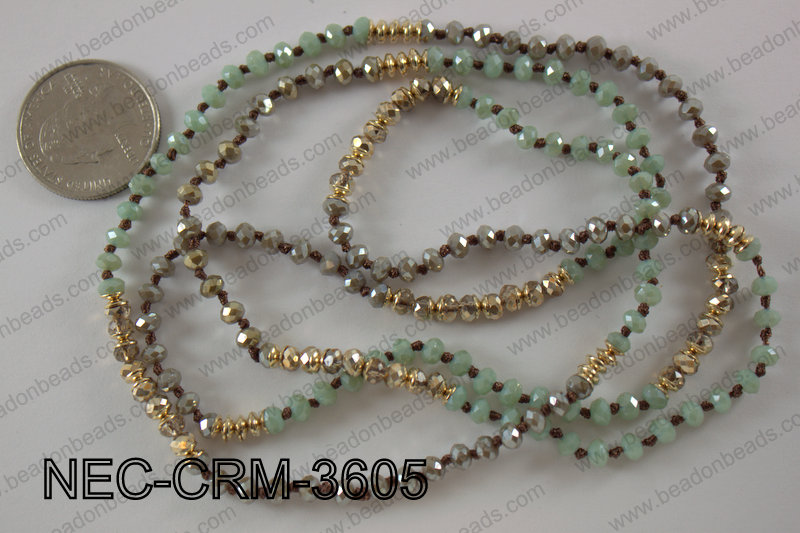4mm crystal with metal spacer necklace NEC-CRM-3605