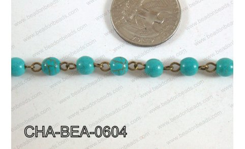 Bronze Chain with Howlite 6mm CHA-BEA-0604