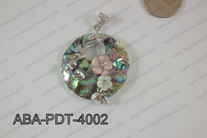 Abalone Pendant Coin with flower 40mm ABA-PDT-4002