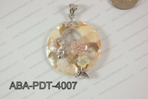 Abalone Pendant Pink Lip Coin with flower 40mm ABA-PDT-4007