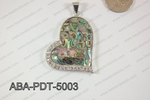 Abalone Pendant Heart 40x50mm ABA-PDT-5003
