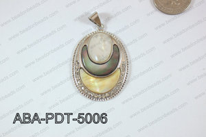 Abalone Pendant Oval multi lip 34x50mm ABA-PDT-5006