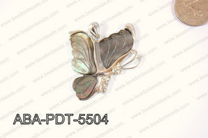 Abalone Pendant Black lip Butterfly 40x55mm ABA-PDT-5504