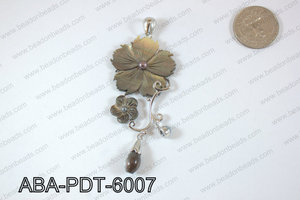 Abalone Pendant Black lip Flower 35x60mm ABA-PDT-6007