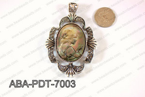 Abalone Pendant  Black Lip carved woman Oval 55x70mm ABA-PDT-700