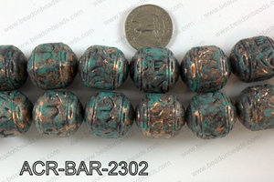 Acrylic round barrel turquoise vintage paint beads 20x24mm ACR-B