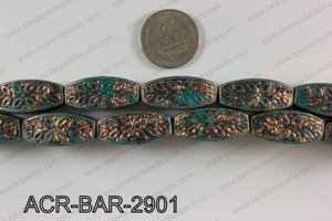 Acrylic rectangular barrel turquoise vintage paint beads 12x29mm