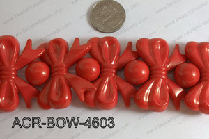 Acrylic Gum Ball And Bow Red 46mm ACR-BOW-4603