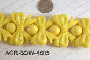 Acrylic Gum Ball And Bow Yellow 46mm ACR-BOW-4605