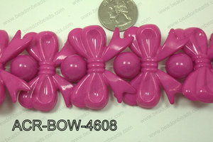 Acrylic Bow and Round Hot Pink 46mm ACR-BOW-4608