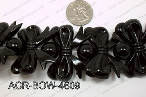 Acrylic Bow and Round Black 46mm ACR-BOW-4609