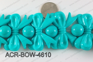 Acrylic Bow and Round Turquoise 46mm ACR-BOW-4610