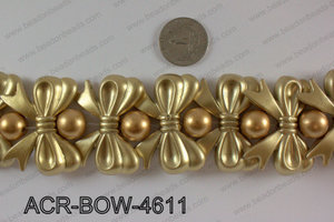 Acrylic Bow and Round Gold 46mm  ACR-BOW-4611