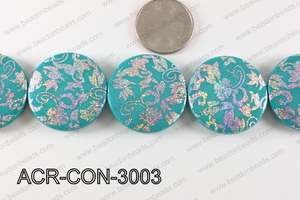 Acrylic Coin Turquoise 30mm ACR-CON-3003