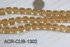 Acrylic Cube Faceted Champagne 13mm ACR-CUB-1302
