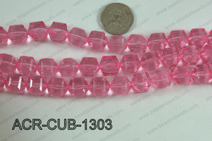 Acrylic Cube Faceted Light Pink 13mm ACR-CUB-1303