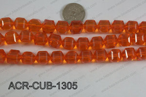 Acrylic Cube Faceted Orange 13mm ACR-CUB-1305