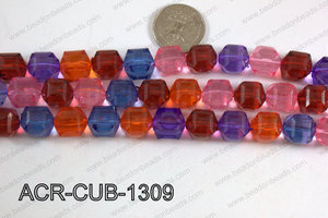 Acrylic Cube Faceted Multicolor 13mm ACR-CUB-1309