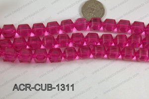 Acrylic Cube Faceted Hot Pink 13mm ACR-CUB-1311
