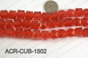 Acrylic Cube Pointed Surface Red 15mm ACR-CUB-1502
