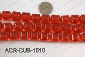 Acrylic Cube Plat Surface Red 15mm ACR-CUB-1510
