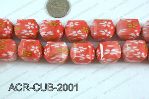 Acrylic Cube Faceted 20mm orange ACR-CUB-2001
