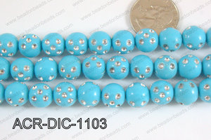 Acrylic Dice Round 11mm turquoise ACR-DIC-1103