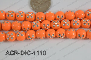 Acrylic Dice Round 11mm orange ACR-DIC-1110
