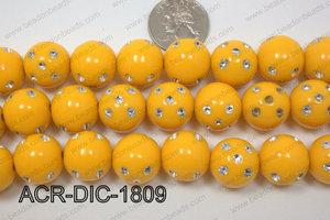 Acrylic Dice Round Yellow 18mm ACR-DIC-1809