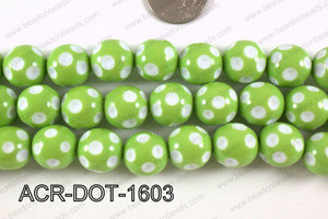 Acrylic Dotted Round Green 16mm ACR-DOT-1603