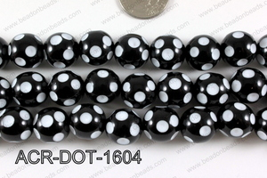 Acrylic Dotted Round Black 16mm ACR-DOT-1604