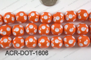 Acrylic Dotted Round Orange 16mm ACR-DOT-1606