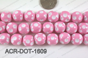 Acrylic Dotted Round Light Pink 16mm ACR-DOT-1609