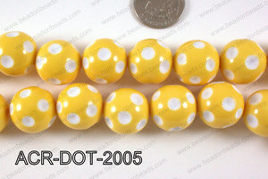 Acrylic Dotted Round Yellow 20mm ACR-DOT-2005