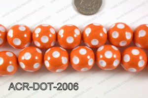 Acrylic Dotted Round Orange 20mm ACR-DOT-2006