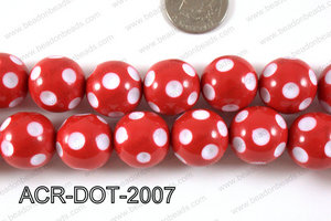 Acrylic Dotted Round Red 20mm ACR-DOT-2007