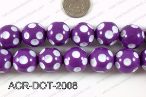 Acrylic Dotted Round Purple 20mm ACR-DOT-2008
