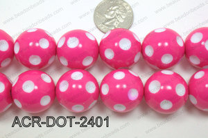 Acrylic Dotted Round  Hot Pink 24mm ACR-DOT-2401