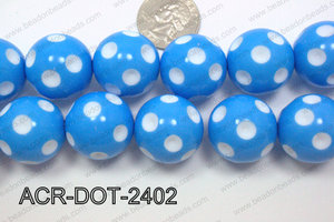 Acrylic Dotted Round  Blue 24mm ACR-DOT-2402